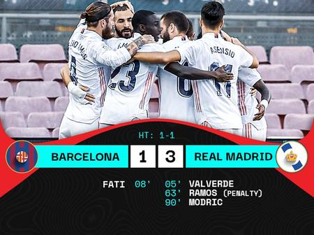 Goals from Valverde, Ramos and Modric gives Real Madrid the win in ElClasico