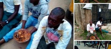 3 Men Caught Carrying Sacrifice In Ikorodu, Forced To Eat It (SEE PHOTOS)