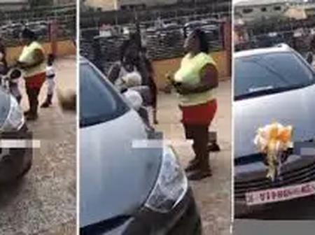 Young girl receives a brand new car from her parents as reward for passing her WAEC