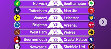 Premier League Fixtures From June 17th To 22nd