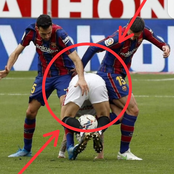 See What These Two Barcelona Players Were Seen Doing To A Sevilla Player