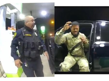 White Police Officers Caught On Camera Humiliating A Black US Soldier On Gunpoint