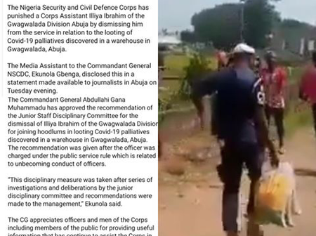 NSCDC Dismisses Officer Who Joined In Looting COVID-19 Palliatives [PHOTOS]