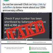 Fake Safaricom Offer For Their Anniversary and The Biggest Blunder You Can Make By Clicking It
