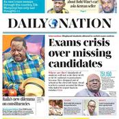 Today's Newspaper: Raila Blames Government Printer For Missing To Add Constituencies He Promised