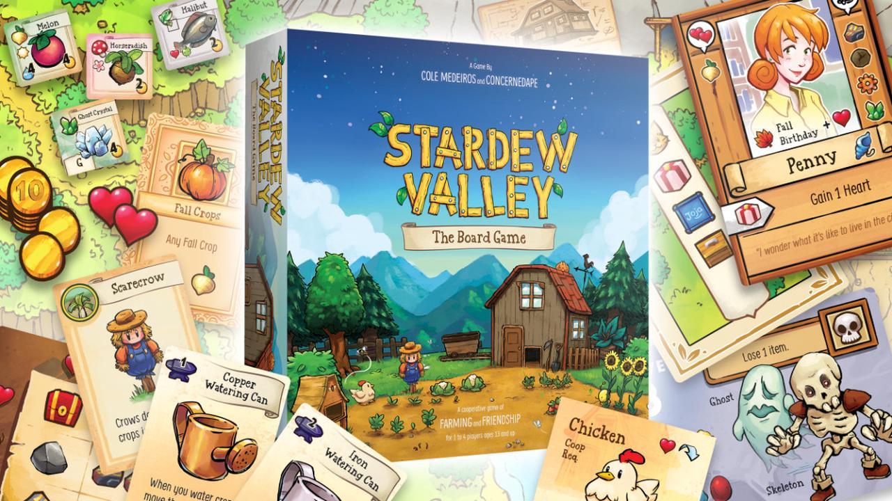 Stardew Valley joue cartes sur table avec son jeu de plateau