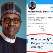 See What President Buhari Did To His Twitter Account To Stop People From Commenting On His Tweets