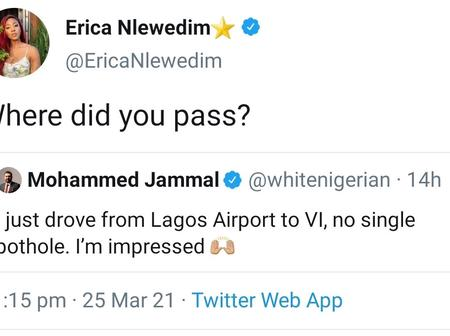 Erica Queries Man Who Claimed He Drove From Airport To VI Without Seeing Potholes (Mixed Reactions)