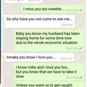 See a screenshot of a cheating wife who is cheating on his husband.