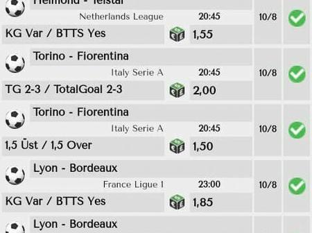 Tonight's Best Predicted Multibet slip Suited to Guarantee you A Mega Win