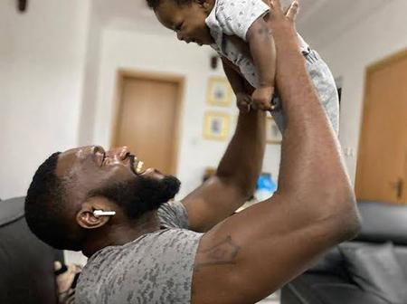 Lovely photos Of Kenneth Okolie, his wife and child