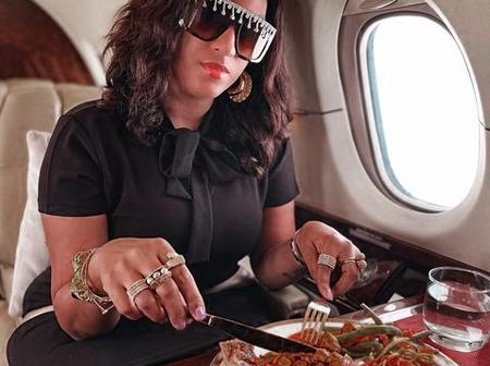 Checkout Juliet Ibrahim Enjoying herself as she flies in a private jet