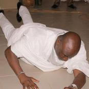 Photos Of Dino Melaye Lying On Church Floor To Worship God