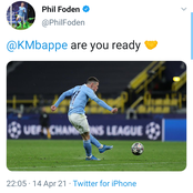 Shortly after Man City were paired against PSG in the UCL Semis, here is what Foden asked Mbappe.