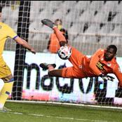 Super Eagles goalkeeper reacts after saving a penalty kick in his European-club 2-0 victory (Photos)