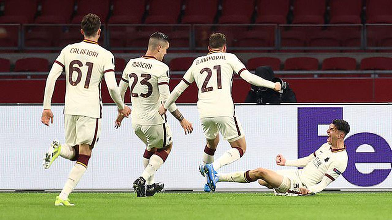 Ajax 1-2 Roma: Ibanez grabs stunning late winner for the Italians... who hold the advantage in Europa League quarter-final after coming from a goal down to win in Amsterdam