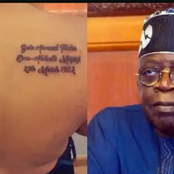 Mixed Reactions On Social Media As Woman Tattooes Tinibu's Face And Birth Day On Her Back (Photos)