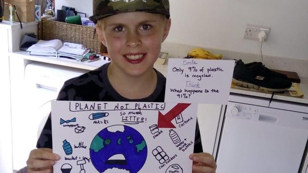 Horsham boy, 9, puts poster he created up at beach to encourage people to not litter