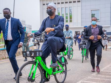 VIDEO: See Reactions As Gov Seyi Makinde Was Spotted Test-Riding The New Bicycles For Civil Servants
