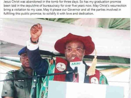 Udom Emmanuel: 5 years after, UNIUYO First-class graduate sends reminder to Governor