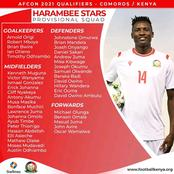 Harambee Stars Name Squad For AFCON Qualifier With Two Big Names Missing