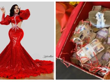Check Out The Box Of Money Bobrisky's Boyfriend Gifted Her As Valentine's Gift (Photos)