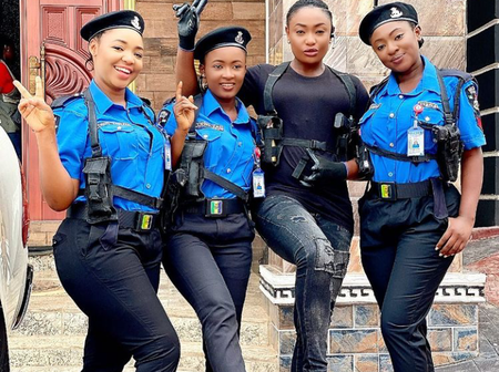 See Yvonne Jegede, Lizzy Gold, others play police officers on the set of a new movie.