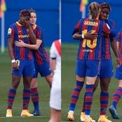 Nigerian and Barcelona star cries during one minute silence held for her late Step-Mum