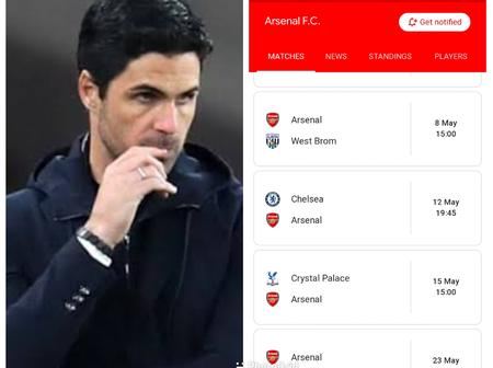 Check Out Arsenal's Remaining 8 PL Games That Show Arteta Could End The Season On A Good Note