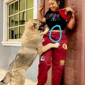 Checkout What Was Sighted On The Waist Of This Popular Nigerian Actress As She Plays With Her Dog
