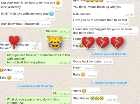 April fool goes really bad as break ups are recorded everywhere. See this funny break up chat.