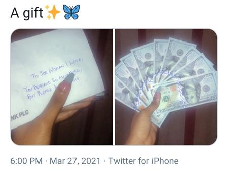 Lady Flaunts Dollar Bills Alongside A Note As Gift From Someone, See What Was Written In The Note