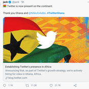 Breaking News : CEO Of Twitter Announces Ghana As Twitter Headquarters For Africa.