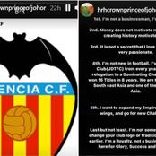 Johor Crown Prince's Instagram Posts Spark Talk Of Takeover Of Peter Lim's Valencia