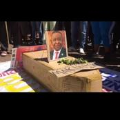 See the video of angry striking students with cardboard coffin for Blade