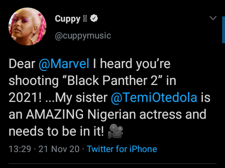 See what DJ Cuppy said to Marvel about her sister featuring in Black Panther Season 2
