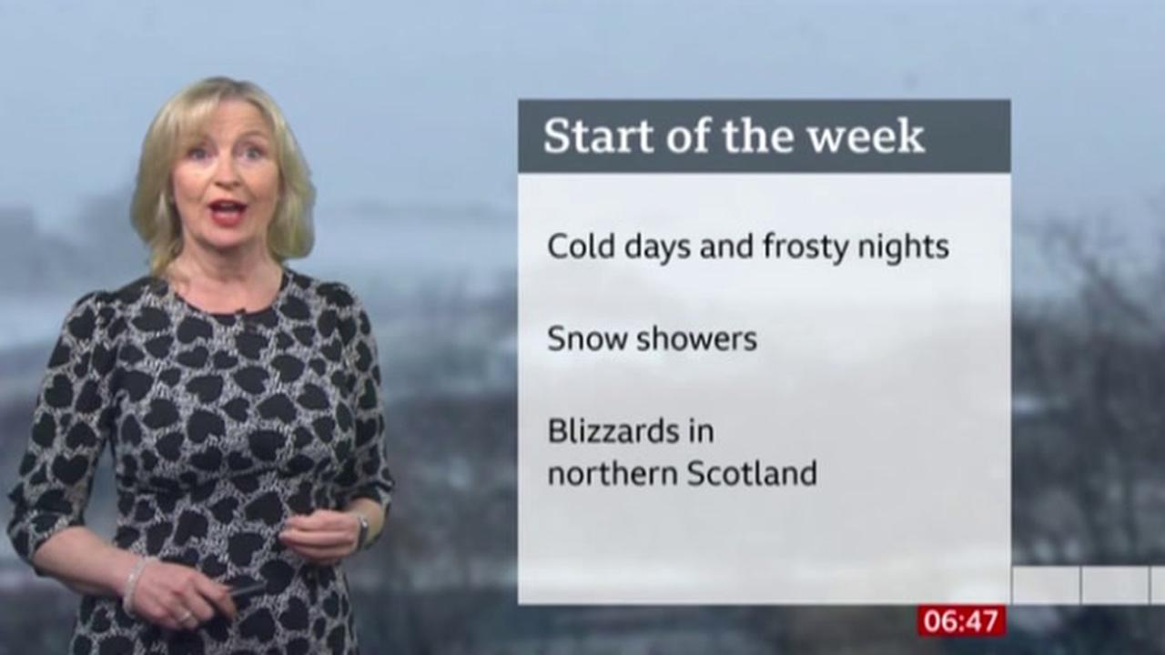The weather in the South of England on Tuesday
