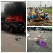 VIDEO: Youths set Police van ablaze for allegedly killing mother and child while chasing Yahoo Boys
