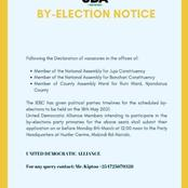 UDA Party Sets Deadline For Candidates To Send Their Application For Juja And Bonchari By-elections