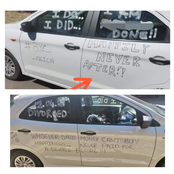 Check Out What Was Boldly Written At The Body Of A Car Which Sparked Reactions Online