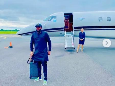 Photos Of Davido, E-Money Posing With Private Jet