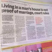 Court Rules That Living In A Man's House Is Not Proof Of Marriage, Kenyan Women React Differently
