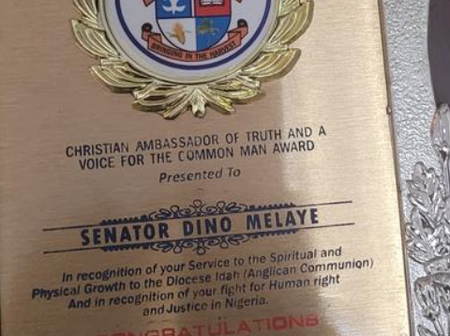 See The Award Given to Dino Melaye by a Church in Kogi State That Many people are Reacting to.