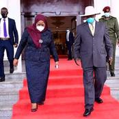 Tanzania President Samia Suluhu Puts On Her Mask During Her State Visit In Uganda.(Photos)