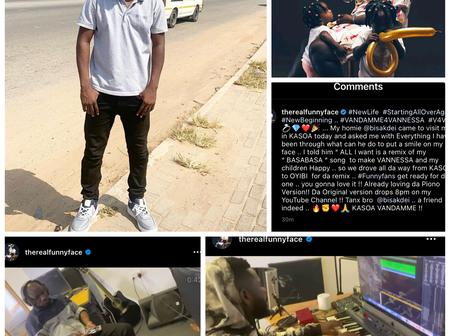 Fans Shower Praises On Funny Face As He Records A Song For His Baby Mama, Vanessa.