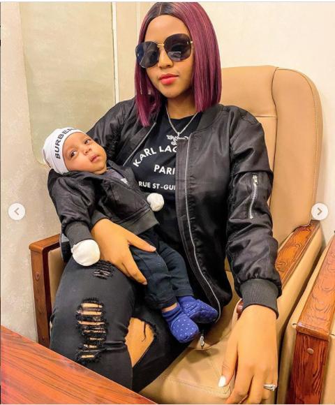 Regina Daniels twinning with her son Munir in new photos