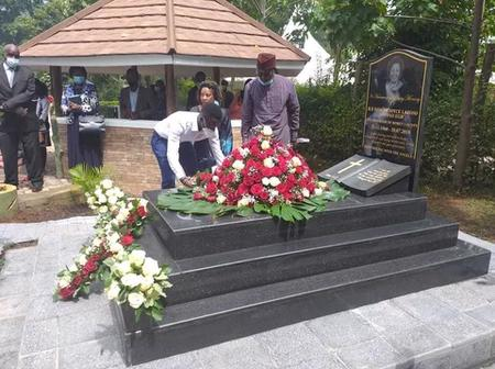 Photos Of The Late Dr Joyce Laboso's Family Laying Wreaths On Her Grave On Her Memorial Service