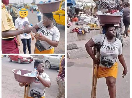 Handicapped Lady Goes Viral On Twitter After She Was Pictured On The Streets Hawking, See Reactions