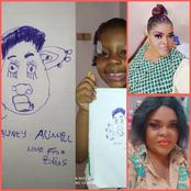 Reactions As Actress, Allwell Ademola's Baby Draw The Art Work Of Her Facial Image(Photos)