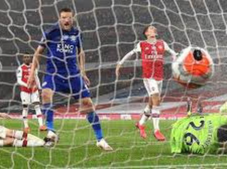 Arsenal 0 - 1 Leicester city as Jamie Vardy got the late goal